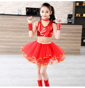 Girls jazz dance dresses red colored kids children stage performance modern dance gogo dancers host singer dance outfits